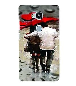 PrintVisa Romantic Love Rains Couples 3D Hard Polycarbonate Designer Back Case Cover for Huawei Honor 5X