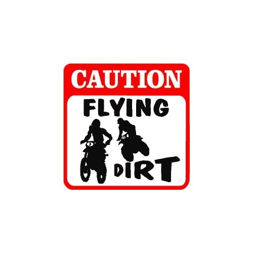 Amazon.com - CAUTION: FLYING DIRT bike race fun joke sign - Yard Signs