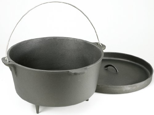 Stansport Non-Seasoned Cast Iron Dutch Oven with Legs (2-Quart)