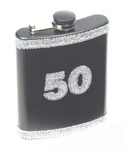 Forum Novelties 50th Birthday Black Glitter Flask