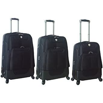 Lisbon Collection- 3 Piece Hybrid Luggage Set with 360? 4-Wheel System in  Red