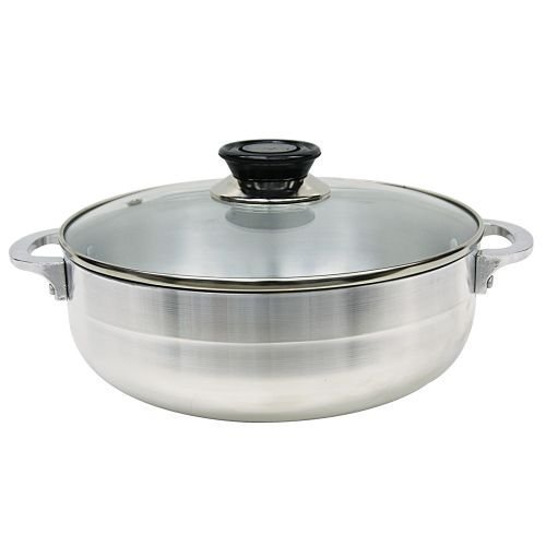 "Aluminum Caldero 14"" x 5"" Deep 11.3 Qt Cooking Pot With Glass Top"