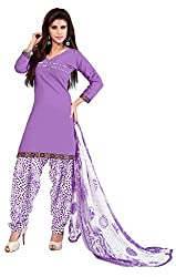 Khoobee Presents Cotton Patiyala Dress Material(Violet,White)