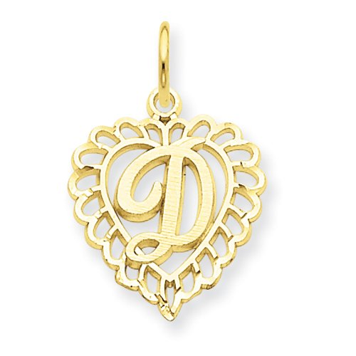 14K Initial D Charm - Measures 22.8X15.2Mm - Jewelryweb
