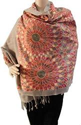 Matelco aari work woollen brown embroidered stole