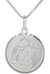 Sterling Silver Allah Medal Necklace 3/4 inch Round Italy