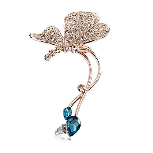 Okajewelry Paved Crystal Butterfly Ear Cuff Wrap Earrings For Left Ear (Rose Gold + Sapphire Crystal)