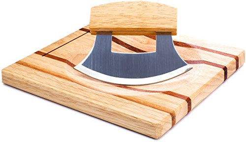 Ulu Knife with Matching Cutting Board, Crafted From High Quality Wood, Tempered Steel Blade is Super Sharp, Much Easier &