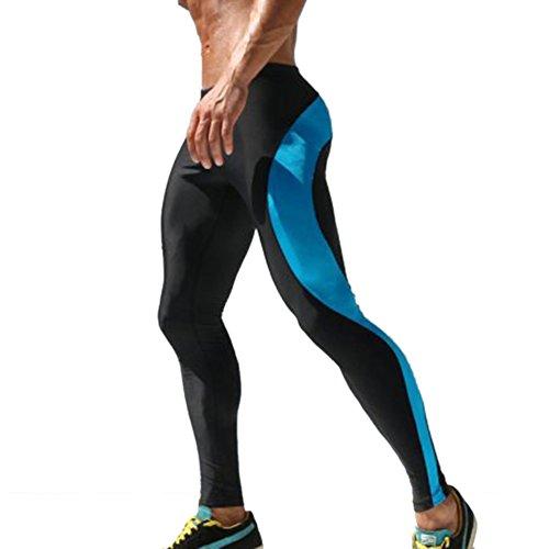 iiSport- Pantaloni Aderenti Uomo Corsa Autunno - Inverno Pantaloni da Jogging Tuta da Palestra Pantaloni Interi da Sport Panatloni Sportivi (Neri Blu) (Taglia: XS S M)