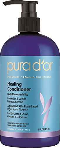 PURA D'OR Lavender & Vanilla Premium Organic Argan Oil Healing Conditioner, 16