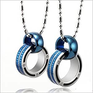 Wedding Gifts For Couple Jewellery : ... com: Cute Blue Connecting Rings Couple Necklaces Set for Two: Jewelry
