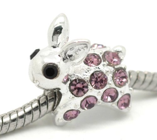 Believe Beads © 1 x Silver Plated Rabbit with Rhinestones Charm Bead for Pandora/Troll/Chamilia Style Charm Bracelet