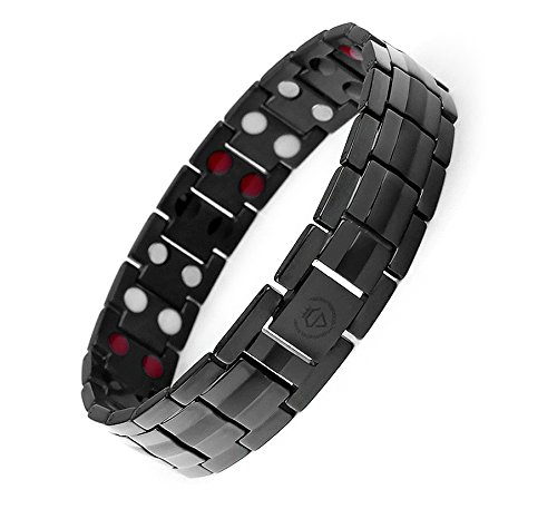 Starista Jewelry Pure Titanium Double Row 4 Elements Magnetic Health Bracelet Power Wristband for Men (Black) (Custom Titanium Rings compare prices)