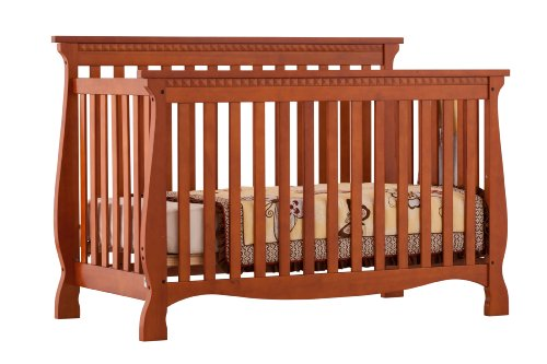 Stork Craft Venetian 4-in-1 Fixed Side Convertible Crib, Cognac