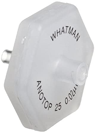 Whatman 6809-2002 Anotop 25 Syringe Filter, 25mm, 0.02 Micron (Pack of 50)