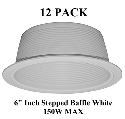 "6"" Inch Recessed Light White Baffle Trim For Br40 Par38 - 150W - 12 Pack"
