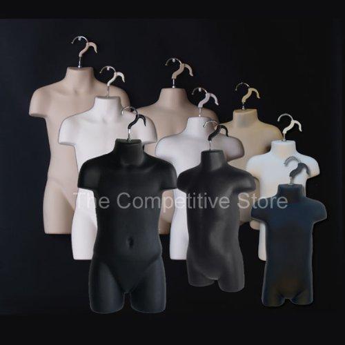9 Infant + Child + Toddler White Black Flesh Mannequin Forms Set - Boys & Girls