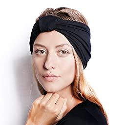 BLOM Multi Style Headband for Sports or Fashion, Yoga or Travel. Happy Head Guarantee - Super Comfortable. Designer Style & Quality. Black.