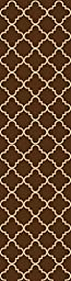 Custom Size Runner Chocolate Brown Moroccan Trellis Non-Slip (Non-Skid) Rubber Back Stair Hallway Rug by Feet 22 Inch Wide Select Your Length 22in X 7ft