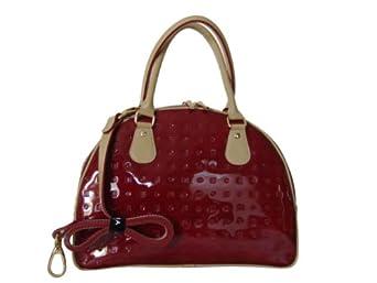 Arcadia Italian Patent Leather Tote Handbag Red