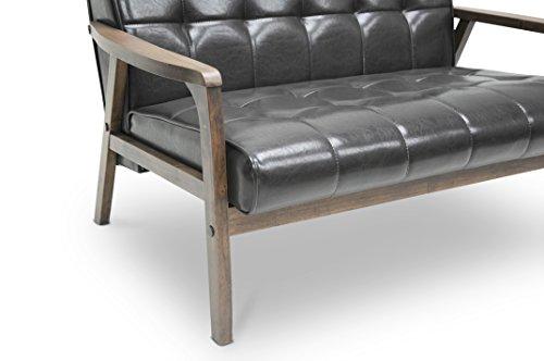 Baxton Studio Mid-Century Masterpieces Love Seat, Brown 2