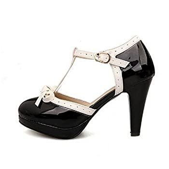 Lucksender Fashion T Strap Bows Womens Platform High Heel Pumps Shoes