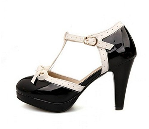 Lucksender Fashion T Strap Bows Womens Platform High Heel Pumps Shoes 1