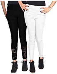 Xarans Stylish Looking Cotton Lycra Net, Button,Jegging Set Of 2 Pcs - B01KJEG9M4
