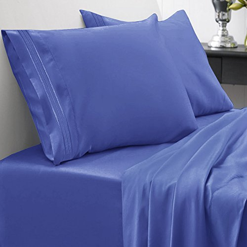 Sweet Home Collection 1800 Thread Count Egyptian Quality 4 Piece Deep Pocket Bed Sheet Set, Full, Royal Blue (Blue Bed Sheets Full compare prices)