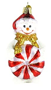 Glistening Peppermint Party Snowman Ornament