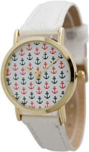 Women's Geneva Multi Anchor Design Gold Trim Leather Watch - White Multi