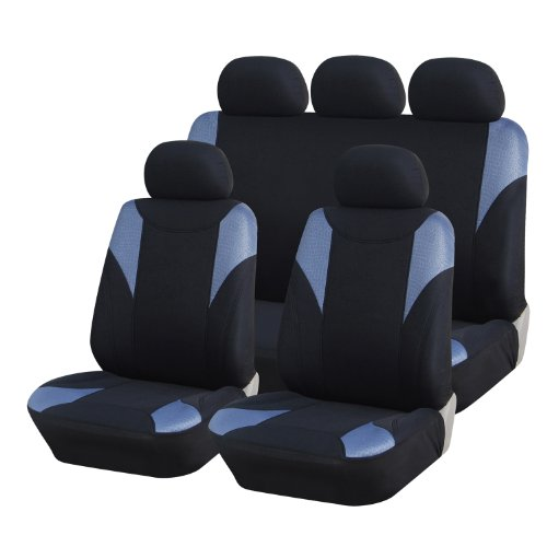 Adeco [Cv0226] 9-Piece Car Vehicle Seat Covers, Universal Fit, Black/Blue-Gray Leather... front-164894