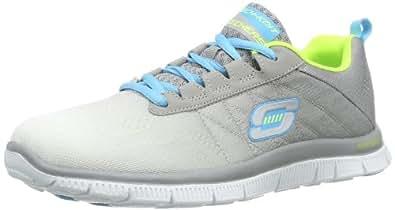 Skechers Flex Appeal New Arrival, Women Fitness Shoes, Grey (White/Grey), 3 UK (36 EU)