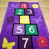Childrens Play Hopscotch Purple Rug 70cm x 100cm