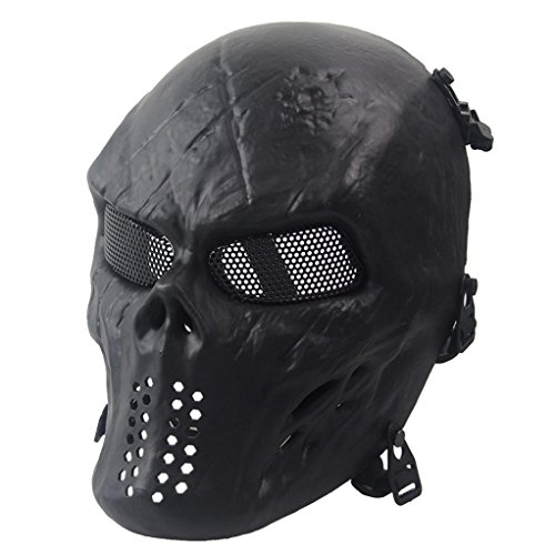[EKIMI Mask Airsoft Paintball Full Face Skull Skeleton CS Mask Tactical Military Halloween (Black)] (Scary Face Paint Halloween Costumes)