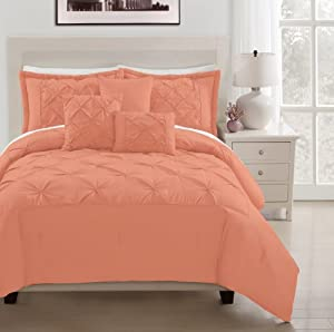 Amazon.com - Denise 6-pieces Coral Peach Soft Pintucked Comforter Set