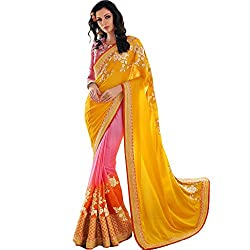 Vasu Saree For Women Multi Shaded Party Wear Embroidered Saree With Designer Zari Floral Lace Work