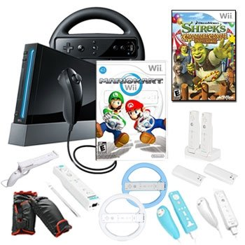 Nintendo Wii Mario Kart Holiday Fun Bundle with Games and Accessories
