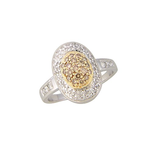 0.58 Cts FullcutDiamond Ring in Sterling Silver & Real Diamonds
