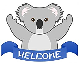 Wallmonkeys Welcome Koala Peel and Stick Wall Decals (12 in W x 10 in H)