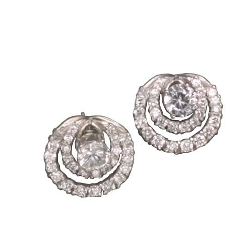 Yetta's 925 Sterling Silver Stud Earrings Pave Set Cubic Zirconia Diamonds Swirling Style - Incl. ClassicDiamondHouse Free Gift Box & Cleaning Cloth