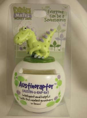 Dinomate Saveasaurus Money Jar - Austinoraptor - Austin * Bank Piggy Save Gift
