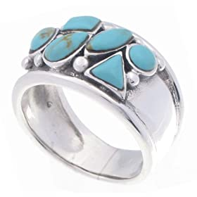 SilverBin Sterling Silver Cluster Style Multi-Shape Turquoise Band Ring