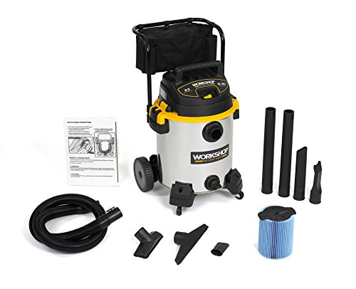 WORKSHOP Wet/Dry Vacs WS1600SS Heavy Duty Stainless Steel Wet Dry Shop Vacuum with Cart, 16-Gallon, 6.5-Peak HP