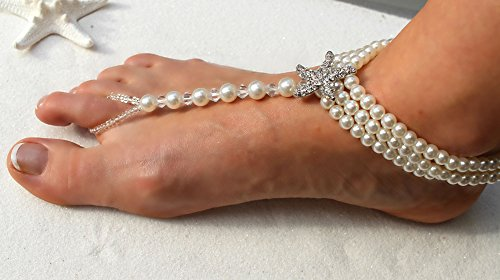 Barefoot Sandals Beach Wedding Themed Ivory Pearl Crystal Rhinestone Starfish