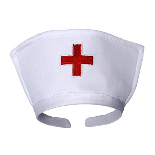 White Nurse Hat Headband with Red Cross ~ Halloween Costume Accessory