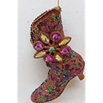 December Diamonds Orange Green & Purple Glittered & Sequined 4 inch High Heel Boot Ornament. Ready to Hang on a Gold Cord.Beautiful!!!