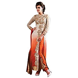 Parabdhani Fashion Women's Georgette Semi Stitched Suit (PBF_DM_190_Orange_Free Size)