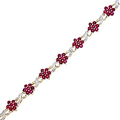 Naava 0.04 Carat Diamond with Ruby Prong Setting Bracelet in 9ct Yellow Gold