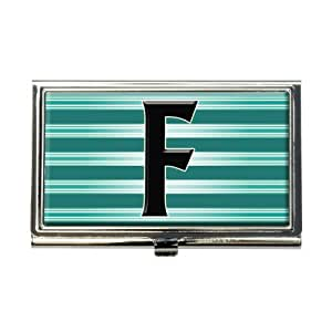 Amazon Letter F Initial Black Teal Stripes Business